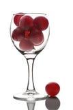Verre à vin complètement de raisins d'isolement Images libres de droits