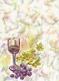 Verre à vin et groupe de raisins Image stock
