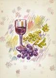 Verre à vin et groupe de raisins Images libres de droits