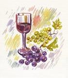 Verre à vin et groupe de raisins Photo libre de droits