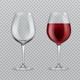 Verre à vin réaliste Vide et avec l'illustration de vecteur de verrerie d'isolement par verres à vin de vin rouge illustration de vecteur