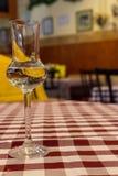 Verre élégant avec de l'alcool sur la nappe rouge et blanche à carreaux Glace de vin blanc Boissons et concept de boissons photo stock