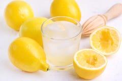 Verre AR de limonade fraîche savoureuse froide avec la fin en bois de presse-fruits de citrons mûrs  photos libres de droits