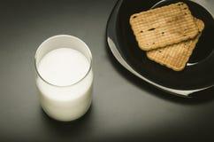 Verre avec du lait et des biscuits dans un plat Image libre de droits