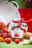 Verre avec le chutney et la décoration de tomate Photographie stock