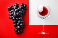 Verre avec le vin rouge et les raisins juteux mûrs frais photographie stock libre de droits