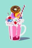 Verre avec un milkshake avec une crème fouettée, avec un beignet et une cerise Conception plate d'illustration de vecteur Images libres de droits