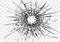 Verre cass?, fissures, marques de balle sur le verre illustration libre de droits