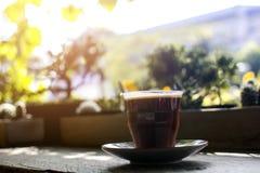 Verre d'Americano chaud avec la cuisson à la vapeur sur une table en bois dans le café avec le fond de jardin d'arbre de bokeh Photos stock
