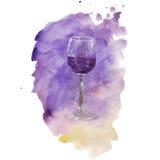 Verre d'aquarelle avec la tache colorée photographie stock
