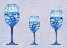 Verre d'Art Surreal Fantasy Three Wine Photos stock