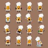 Verre d'ensemble d'emoji de caractère de bière illustration de vecteur
