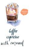 Verre d'expresso de café avec le caramel Image libre de droits