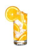 Verre d'orangeade froide avec de la glace d'isolement sur le blanc images libres de droits