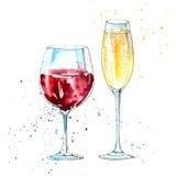 Verre d'un champagne et d'un vin rouge Photo stock