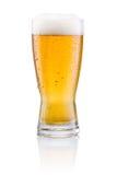 Verre de bière avec la condensation sur le fond blanc Images stock
