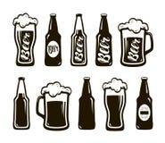 Verre de bière, bière anglaise, bière blonde allemande Tasse, ensemble de bouteille d'icônes Oktoberfest, restaurant, bar, symbol Photos libres de droits