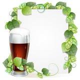 Verre de bière et branche d'houblon illustration de vecteur
