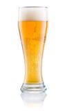 Verre de bière fraîche avec la mousse d'isolement sur le blanc Photo libre de droits