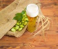 Verre de bière, de houblon en cônes et d'oreilles d'orge Image stock