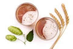 Verre de bière mousseuse avec le houblon et le blé en cônes d'isolement sur le fond blanc Vue supérieure Images libres de droits