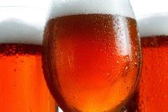 Verre de bière sur le fond blanc avec la mousse Image libre de droits