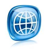 Verre de bleu d'icône du monde Images libres de droits