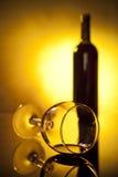 Verre de bouteille et de vin Image libre de droits