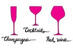 Verre de Champagne, verre de cocktail, verre de vin rouge Photos libres de droits