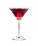 Verre de cocktail rouge de martini d'isolement sur le blanc Images stock