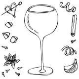 Verre de cocktail surdimensionné de vin Illustration tirée par la main de vecteur Image stock