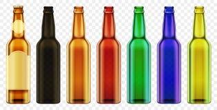 Verre de couleur de bouteille à bière de vecteur Maquette d'emballage avec les bouteilles réalistes réglées illustration libre de droits