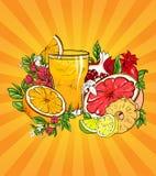 Verre de jus et de fruits tropicaux sur l'orange illustration libre de droits