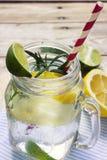 Verre de limonade faite maison surgelée image stock