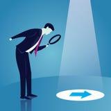 Verre de Looking Trough Magnifying d'homme d'affaires illustration de vecteur