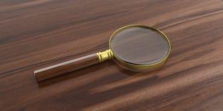 verre de loupe du rendu 3d sur une surface en bois illustration libre de droits