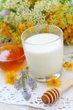 Verre de miel de lait et de fleur dans une cuvette Image libre de droits
