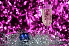 Verre de nouvelle année avec la tresse Image libre de droits