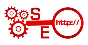 Verre de SEO Red Text Gears Magnifying Photographie stock
