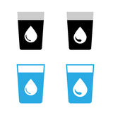 Verre de vecteur d'icônes de l'eau Images libres de droits