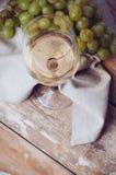 Verre de vin blanc et de raisins photo stock