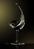 Verre de vin blanc sur le fond noir Photographie stock