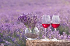 Verre de vin contre la lavande Image libre de droits