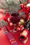 Verre de vin et bouteille de vin Images libres de droits