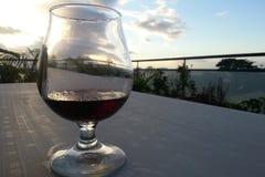 Verre de vin rouge sous le tropique Photographie stock libre de droits