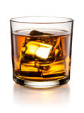 Verre de whiskey d'isolement sur le fond blanc Images libres de droits