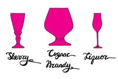 Verre de xérès, verre de cognac, verre d'eau-de-vie fine, verre de boisson alcoolisée Image libre de droits