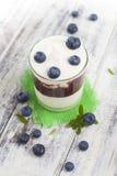 Verre de yaourt avec les myrtilles fraîches photographie stock libre de droits