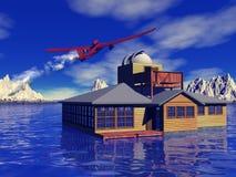 Verre droomhuis en vliegtuigen Stock Foto's
