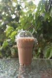 Verre en plastique de moka de café de glace Photos libres de droits